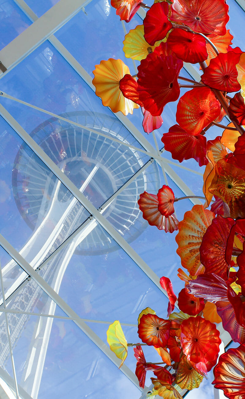 Space needle and colorful plant